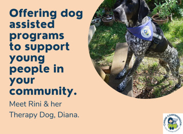 Meet Rini & her therapy dog Diana. Photo of Diana in Canine Comprehension Uniform